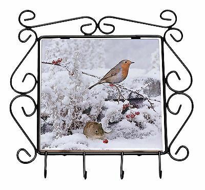 Snow Mouse and Robin Print Wrought Iron Key Holder Hooks Christmas Gift, AMO-5KH
