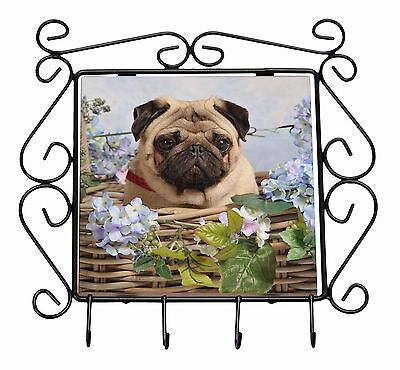 Fawn Pug Dog in a Basket Wrought Iron Key Holder Hooks Christmas Gift, AD-P96KH