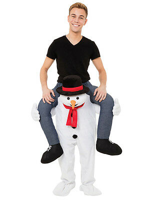 Adult Carry Me Piggy Back Ride On Snowman Mascot Xmas Fancy Dress Costume Outfit