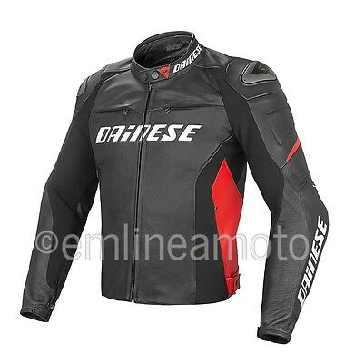 Leather Jacket Dainese Racing D1 Black / Black / Red