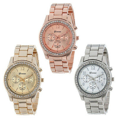 Luxury Women Ladies Stainless steel Crystals Watch Plated Classic Wrist Watch US
