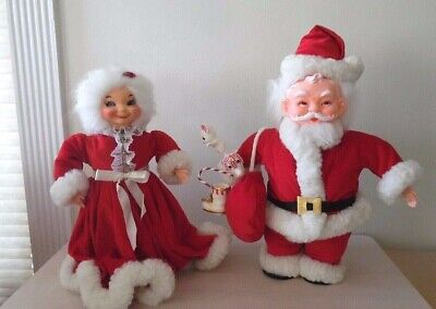 Vintage Santa & Mrs Claus~Handcrafted~1950's~Christmas~Unique~One Of A Kind
