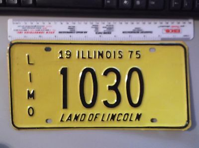 Vintage 1975 Illinois Land Of Lincoln Limo License Plate 1030