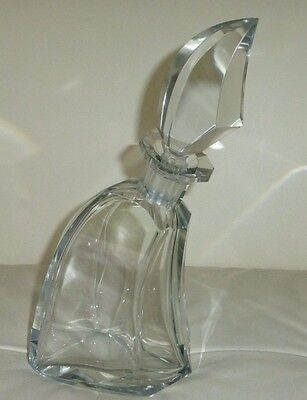 "Gorgeous And Unusual Art Deco Tilted Form Italian Crystal Decanter 11 1/8"" Tall"