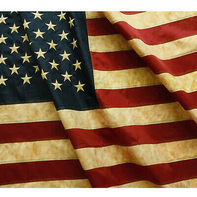 ANLEY Vintage Tea Stained Betsy Ross Texas State American US Flag Embroidered