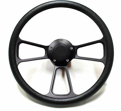 Ford Truck Steering Wheel + Adapter for 1949-1957 Ford P/U Black Billet Full Kit