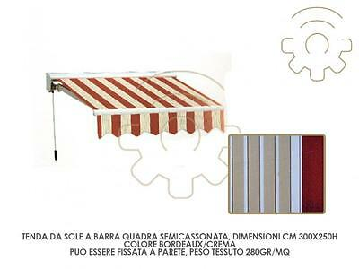 (8048680L) Tenda da sole a barra quadra semicassonata BORDEAUX/CREMA cm300x250h