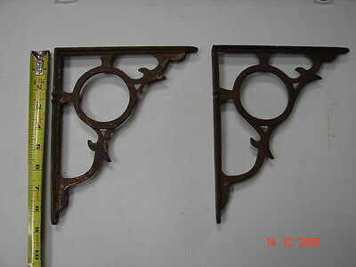 2  Victorian Cast  Iron Shelf Brackets - Heavy - Circles - Great Set