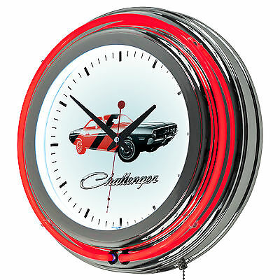 Dodge Challenger Stripe 2 Licensed Chrome Double Neon Clock