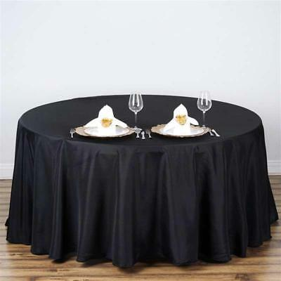 "Black 108"" Seamless Polyester Round Tablecloth ~NEW~ Wedding Party Banquet"
