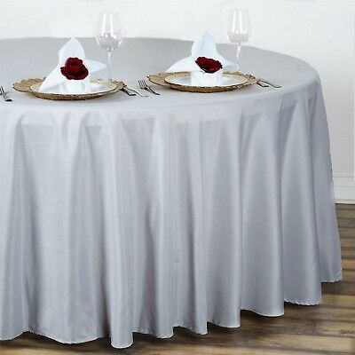 "Silver 108"" Seamless Polyester Round Tablecloth ~NEW~ Wedding Party Banquet"