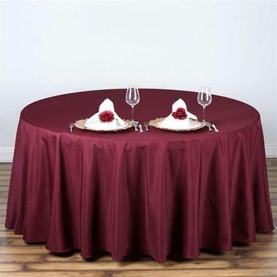 "Burgundy 108"" Seamless Polyester Round Tablecloth ~NEW~ Wedding Party Banquet"