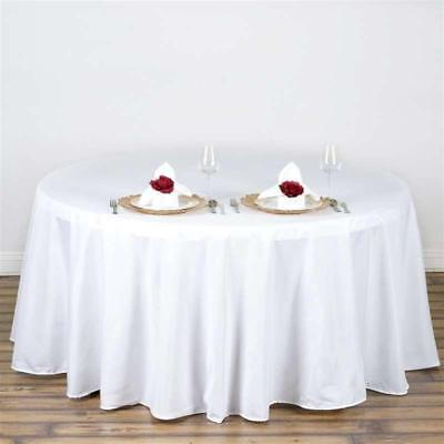 "White 108"" Seamless Polyester Round Tablecloth ~NEW~ Wedding Party Banquet"