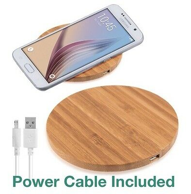 Bamboo Wood Qi Wireless Charger Pad For Samsung Galaxy S7 S6 & Edge & Edge+