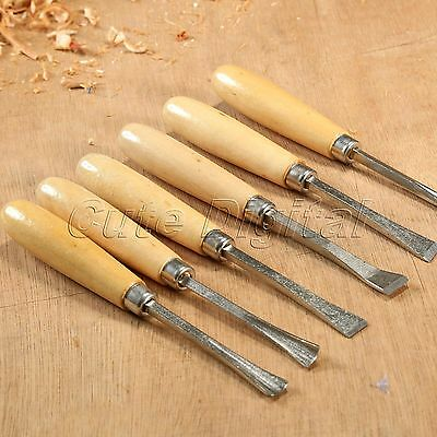 6Pcs Wood Carving Hand Chisel Tools Set Professional Woodworking Lathe Gouges