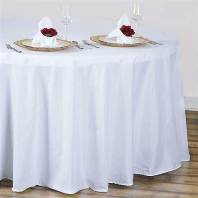 White 120 in. Polyester Seamless Tablecloth~Wedding~NEW