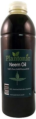 Neem Oil, 100% Pure & Natural Cold Pressed Carrier Oil - 1 Litre