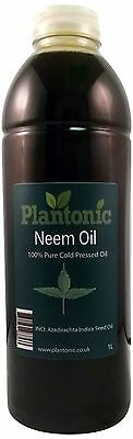 Neem Oil, 100% Pure & Natural Organic Cold Pressed Carrier Oil - 1 Litre