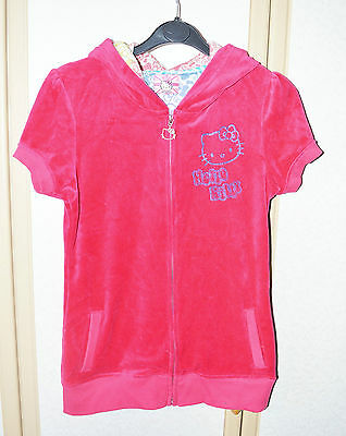 M&S Girls Cotton Rich Pink Velour Hello Kitty Hoodie Age 13-14 VCG