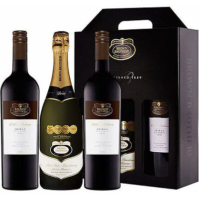 Brown Brothers Premium Red Shiraz & Sparkling Pinot Noir Wine Birthday Gift Pack