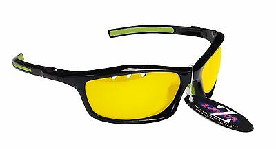 RayZor Uv400 Light Enhancing Clear Yellow Vented Cricket Wrap Sunglasses RRP£49