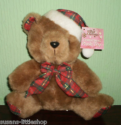 SPIRIT OF CHRISTMAS TEDDY BEAR SOFT TOY PLUSH Wearing TARTAN SANTA HAT & BOW TIE