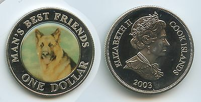 G0250 - Cook Islands 1 Dollar 2003 Schäferhund Hund Man´s best Friends Farbmünze