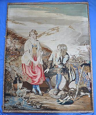 "Beautiful Antique 19th Century Very Large 53"" x 40"" Romantic Woolwork Tapestry"