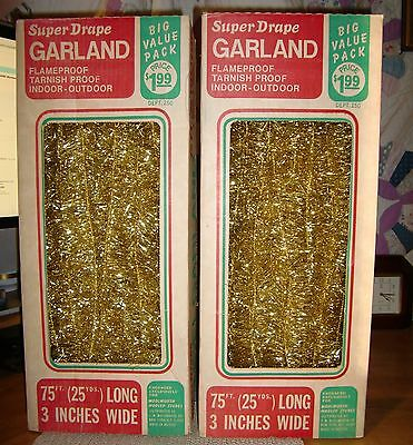 """Vintage Boxs (2) Woolworth 75'  3"""" Wide Gold Super Drape Christmas Tree Garland"""