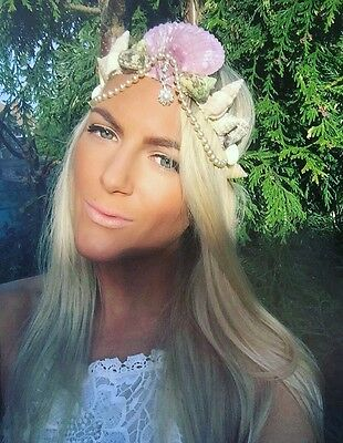 Purple Sea Shell Mermaid Crown Pearl Hair Head Band Choochie Beach Hippy Boho