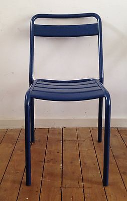 4 x French Blue industrial vintage metal stacking chairs, cafe, stacking.
