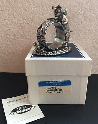 Reed & Barton Silverplate 1824 collection Cat & Mouse napkin Ring with box