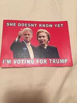 Anti Hillary Bill Clinton Voting For Trump Sticker President 2016 Go Trump