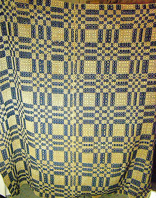 """Antique Jacquard Blue Hand Loomed Coverlet 70"""" x 70"""" - Center Seam"""