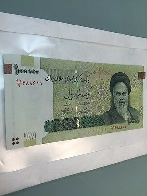 Iran 100000 (100,000) Rials UNC Authentic Banknote Uncirculated Currency