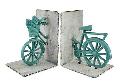 Green and White Cast Iron Vintage Bicycle Bookend Set