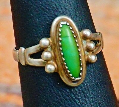 Vintage Fred Harvey Nevada Green Turquoise Sterling Silver Ring Size 6-1/2 1940s
