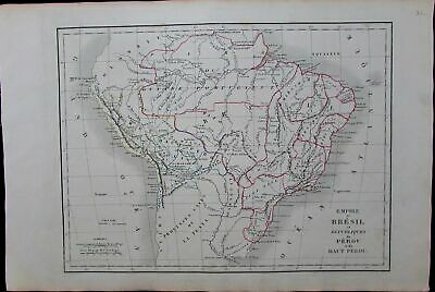 Empire of Brazil Republic of Peru 1830 South America scarce antique map