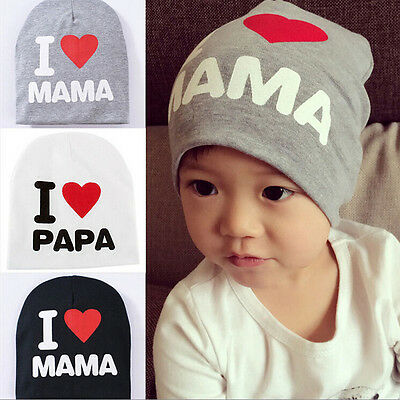 1X Kids Hat Knitted Cotton Toddler Beanie Cap I LOVE PAPA MAMA 3 Colors WB
