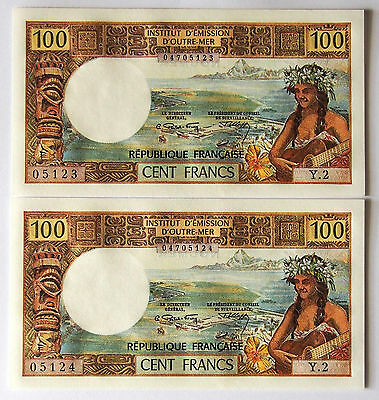 New Caledonia - 100 Francs Banknotes - 1971 - Uncirculated Grade - Consec. Pair