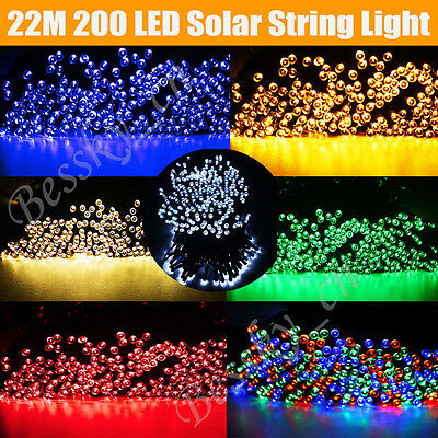 22M 200 LED Outdoor Solar Powered String Lights Xmas Party Wedding Light Lamps