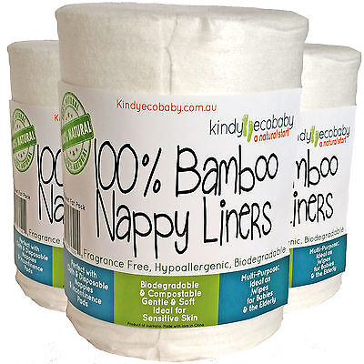 720 Flushable Biodegradable Baby Bamboo Nappy Liner/Insert Wipes, genuine, eco
