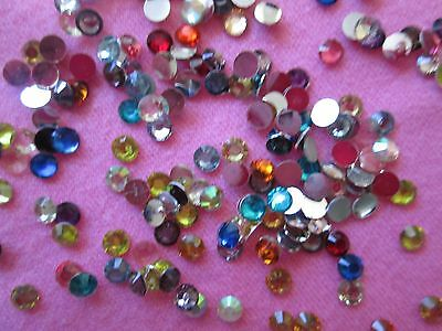 200 Small Multi Coloured Rhinestone Flat Backs  Diy Bulk