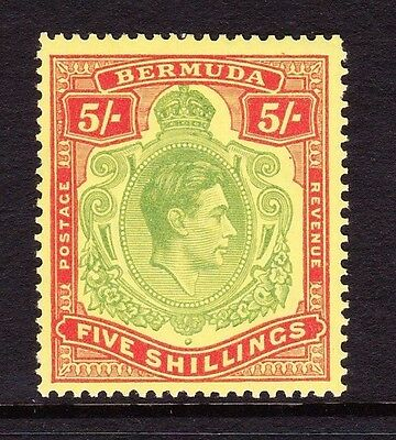 BERMUDA 1938-53 5/- YELLOW-GREEN & RED PERF 13 SG 118f MINT.
