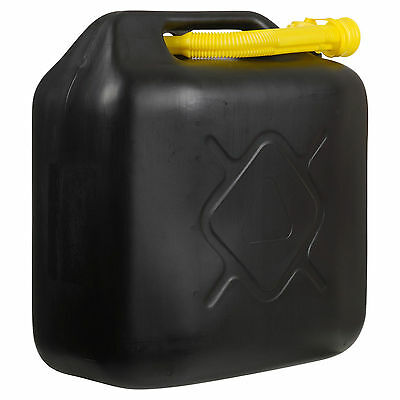 20 Litre Fuel Diesel Petrol Black Plastic Water Jerry Can With Pouring Spout X