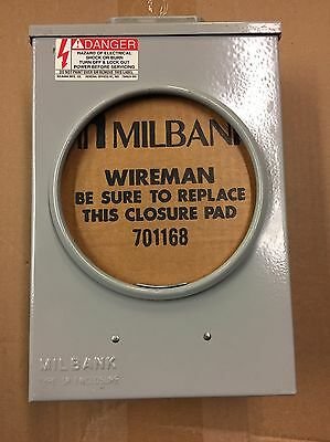 Milbank Meter Socket, 3Phase, 3W, 200A, 600 Vac, 5 Jaws, 12S, Ringless, U7490