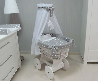 ***The Original White -Grey Wicker Crib, Moses Basket with Canopy for Babies***