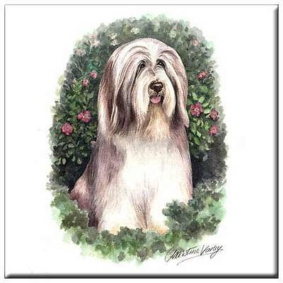 "Bearded Collie 4"" Decorative, Cork Backed, Ceramic Tile"