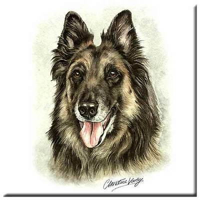 "Belgian Tervuren 4"" Decorative, Cork Backed, Ceramic Tile"
