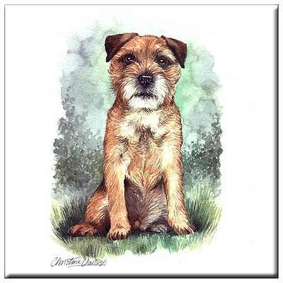 "Border Terrier 4"" Decorative, Cork Backed, Ceramic Tile"